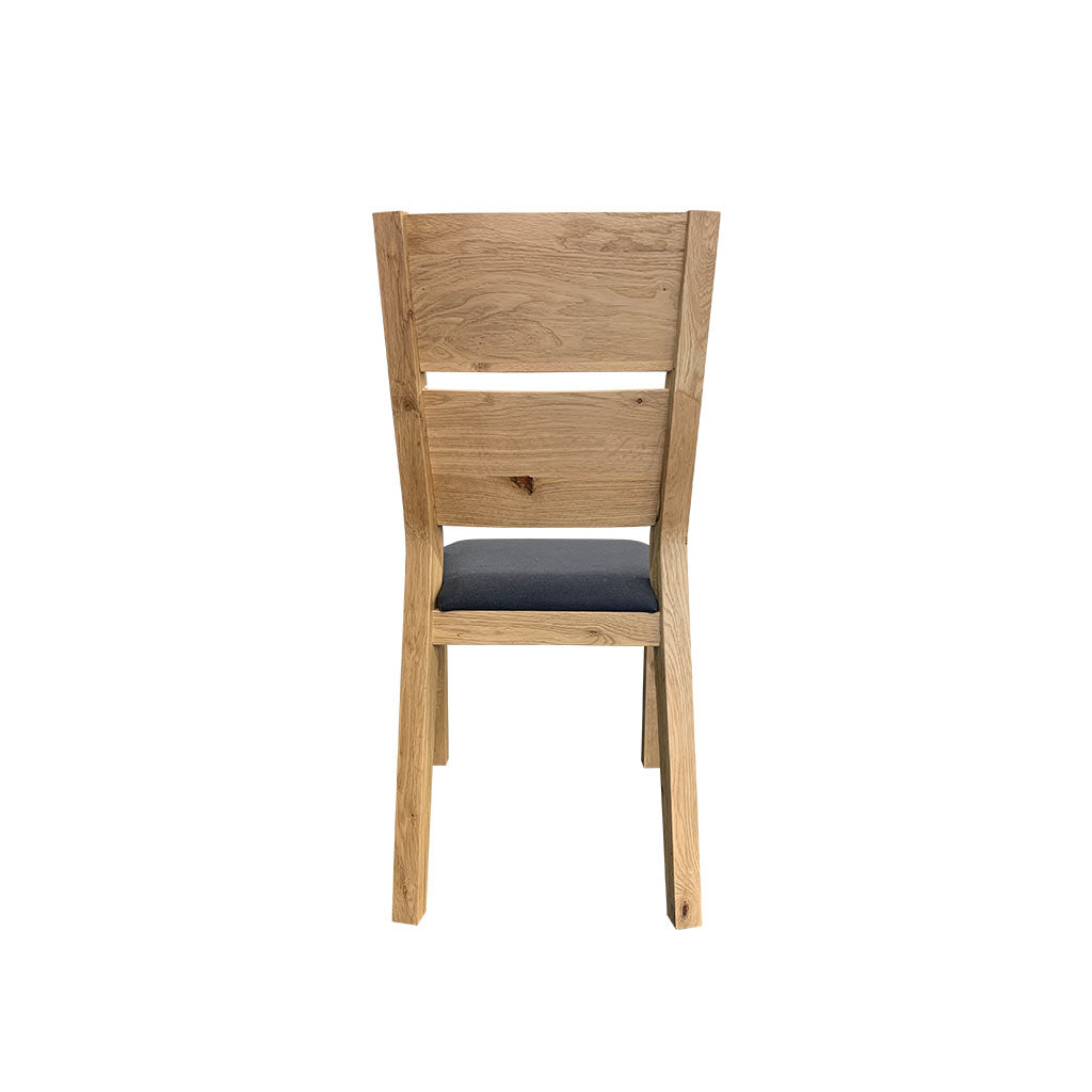 Florence oak dining chair with charcoal fabric seat - back