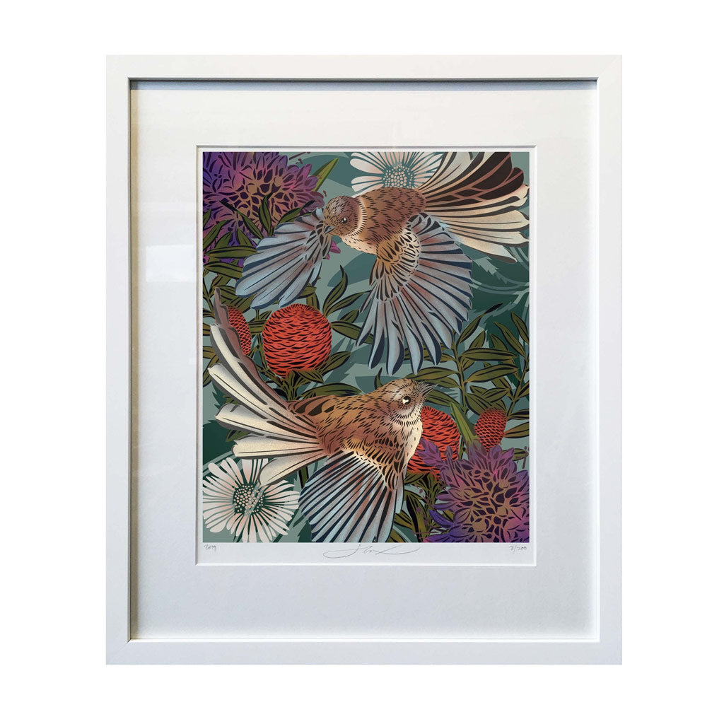 Flox Limited Edition Art - A3 - Flying Fantails