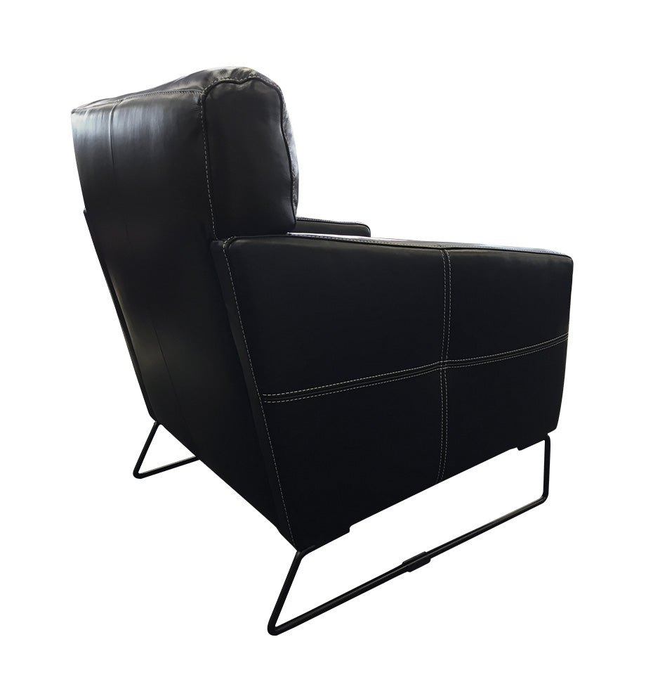 Frenzo black leather chair - back view