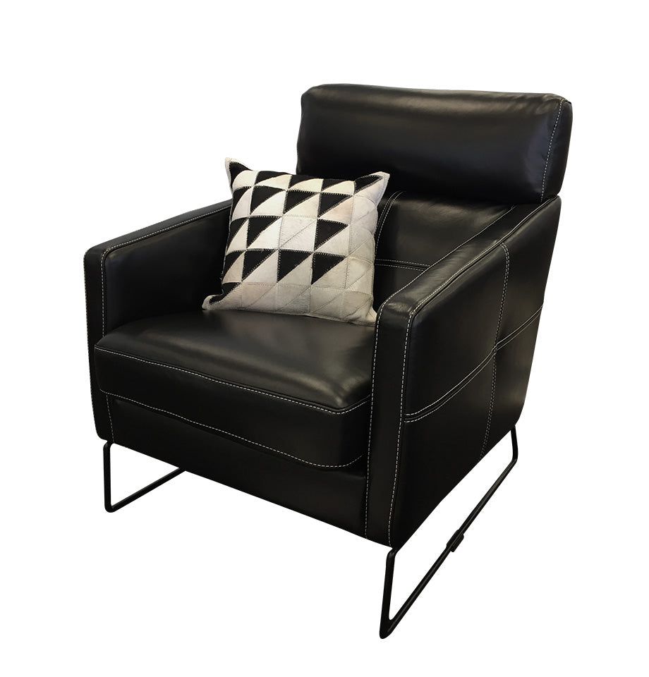 Frenzo Black Leather Armchair