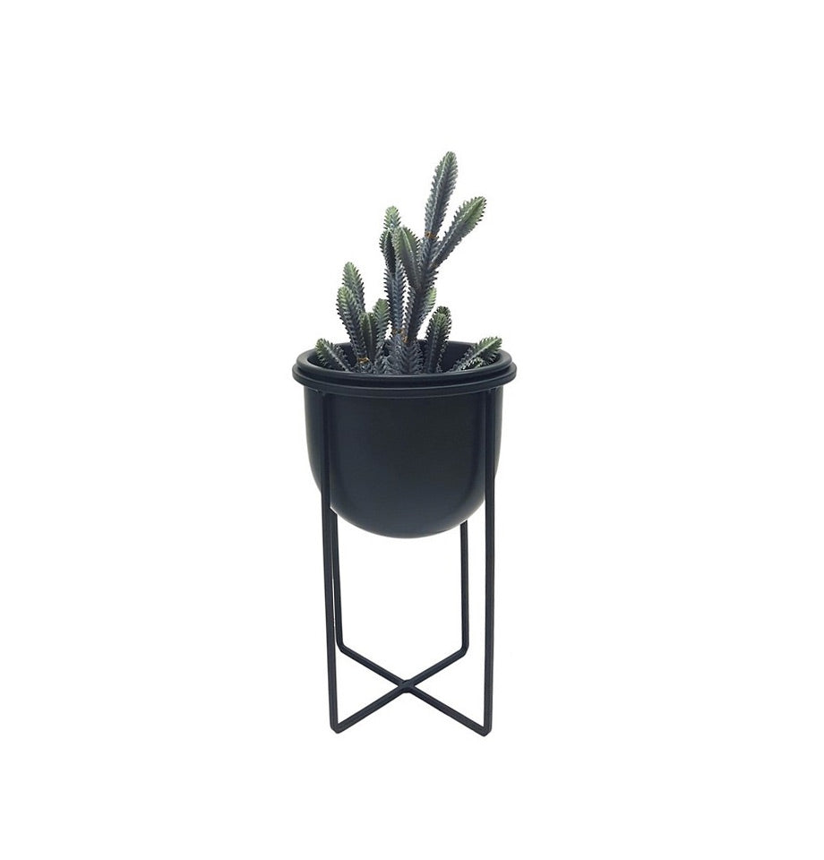 Black Planter with metal stand - 33cm