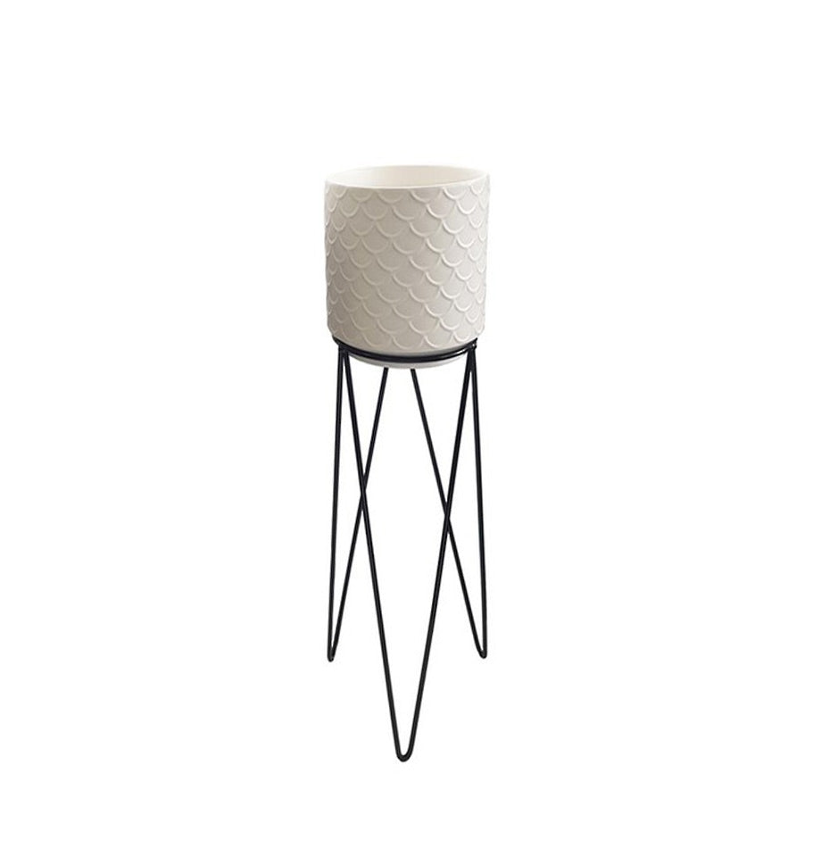 Textured planter with metal stand - Medium