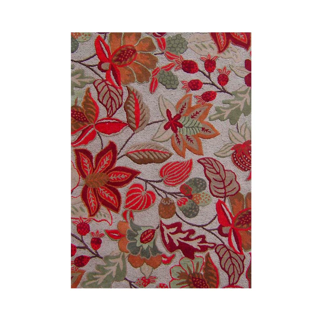 Hudson Floral III Floor Rug - Natural/Red 160x230