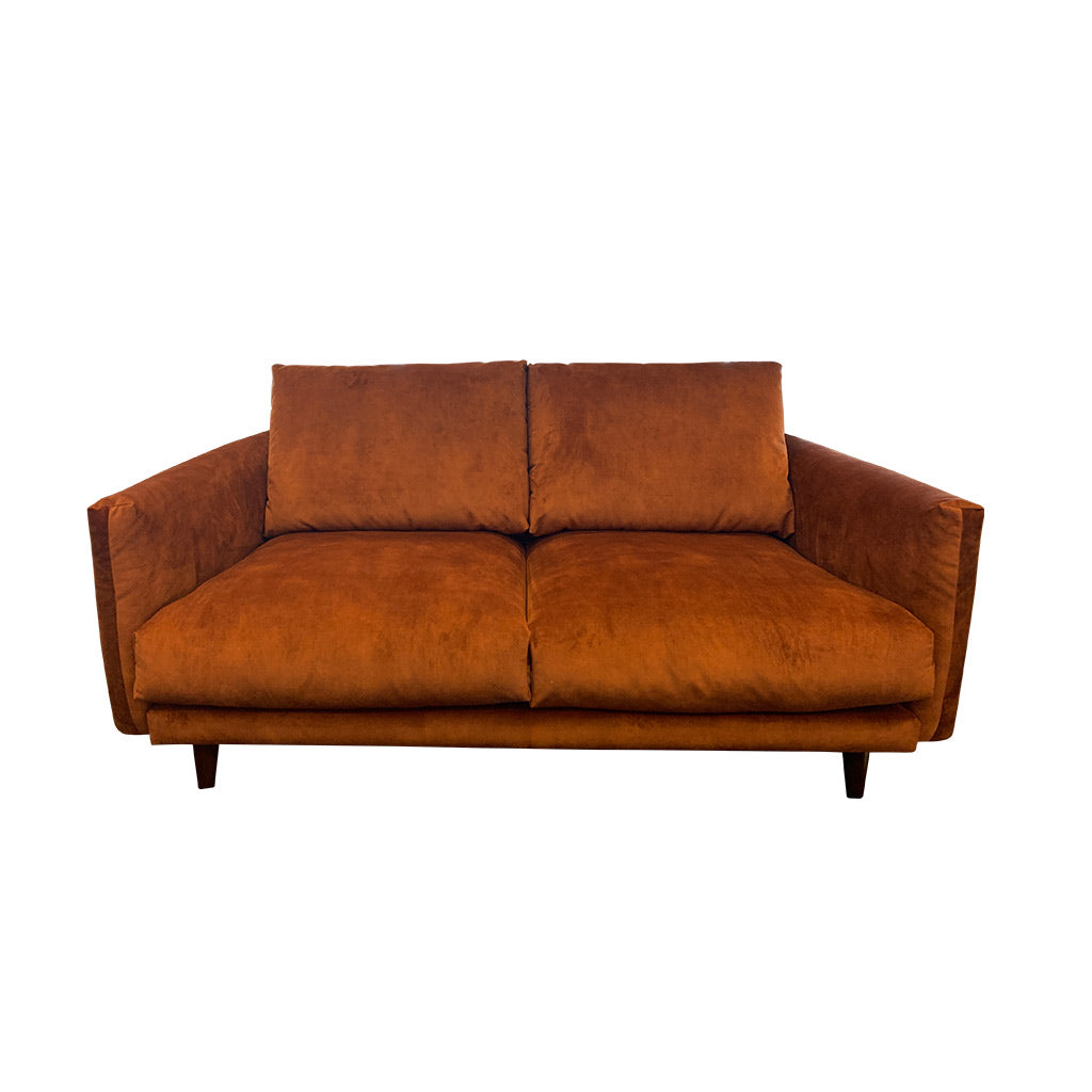 Gatsby fabric suite - Rust with timber leg - 2 seater sofa
