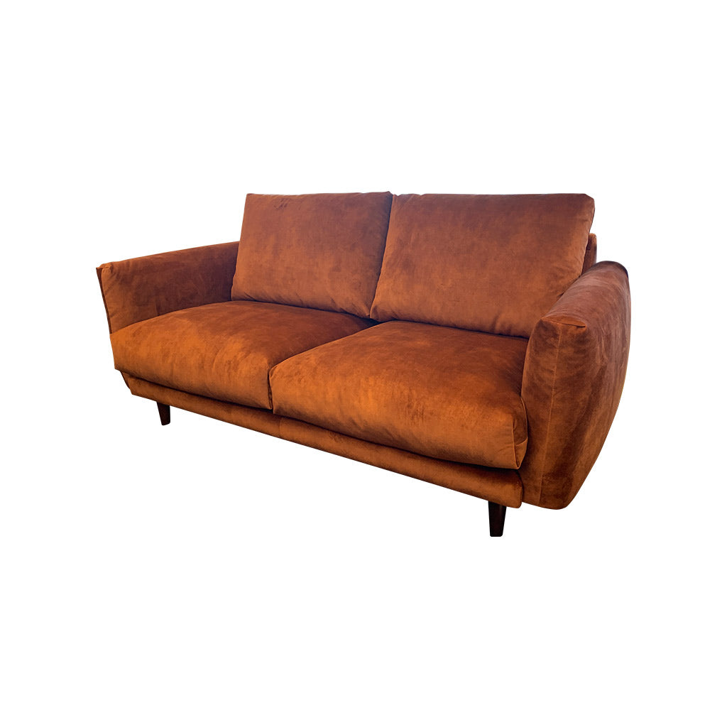 Gatsby fabric suite - Rust with timber leg - 2 seater sofa side view