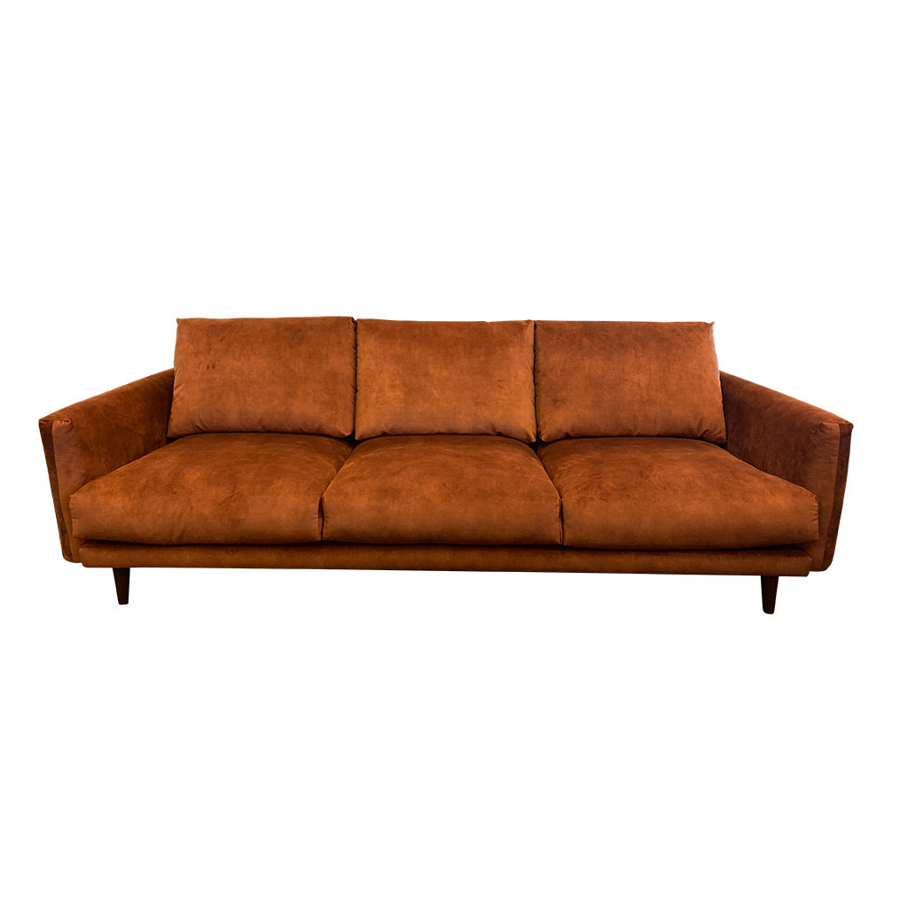 Gatsby fabric suite - Rust with timber leg - 3 seater sofa