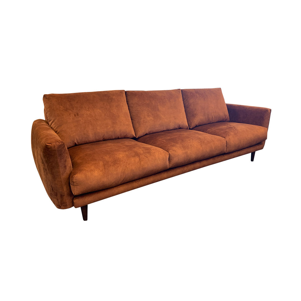 Gatsby fabric suite - Rust with timber leg - 3 seater sofa side view