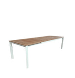 Grove Outdoor Extra Large Twin Extension Table 220/280/340x100 - White Powdercoated Aluminum w. Teak Top
