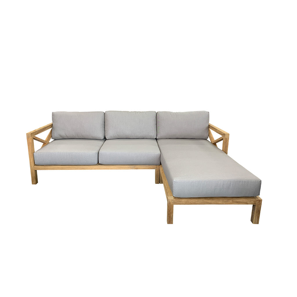 Hampton Corner Outdoor Sofa - Solid Teak with Sunbrella Grey fabric cushions
