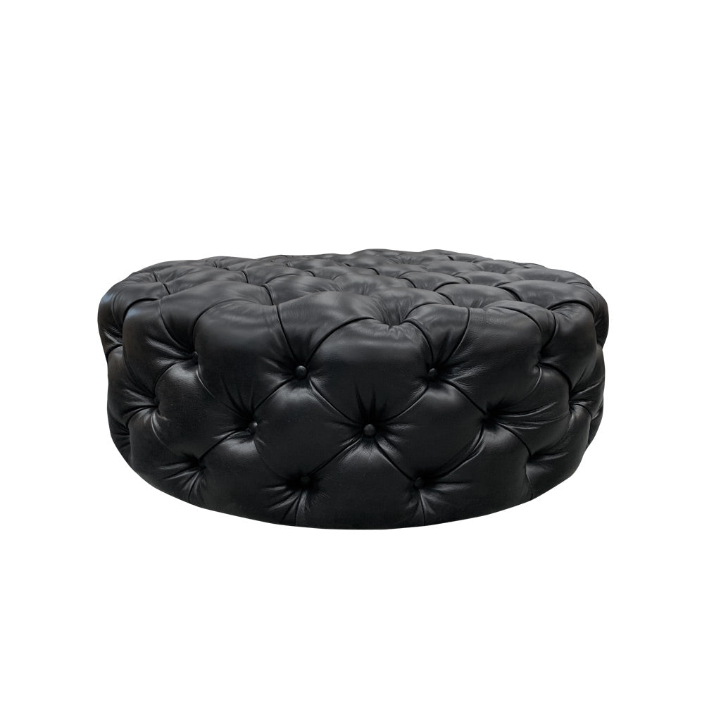Hoxton Buttoned Leather Ottoman - Cambridge Black Full Grain Leather