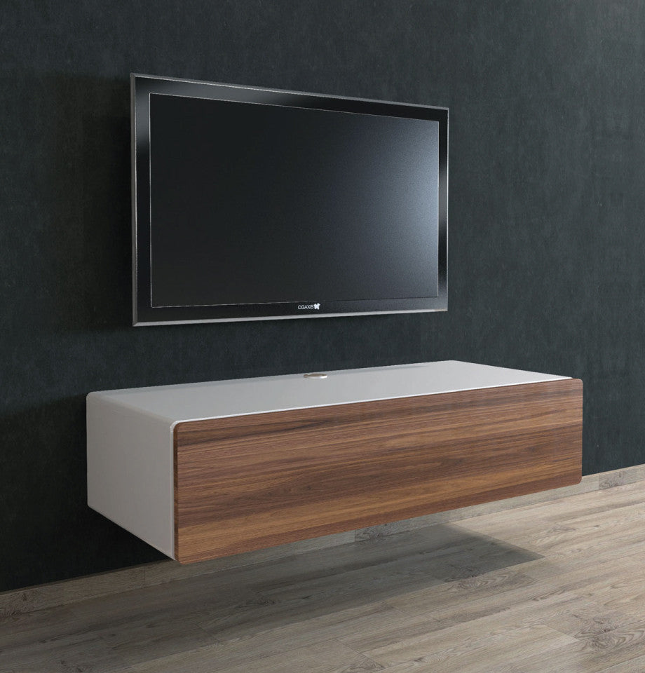 Bondi Floating Ent Unit 1120 - Walnut Front/High Gloss White - Furnish