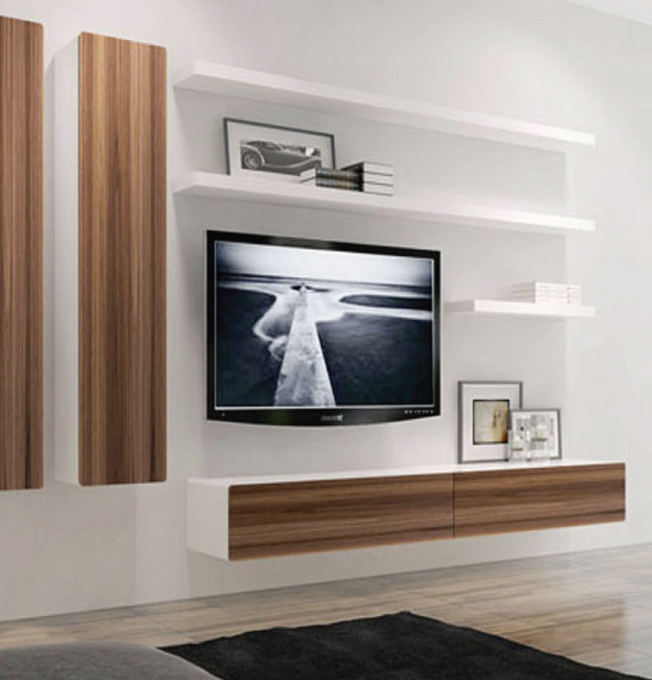 Bondi Floating Entertainment Unit 2200 - Walnut/High Gloss White