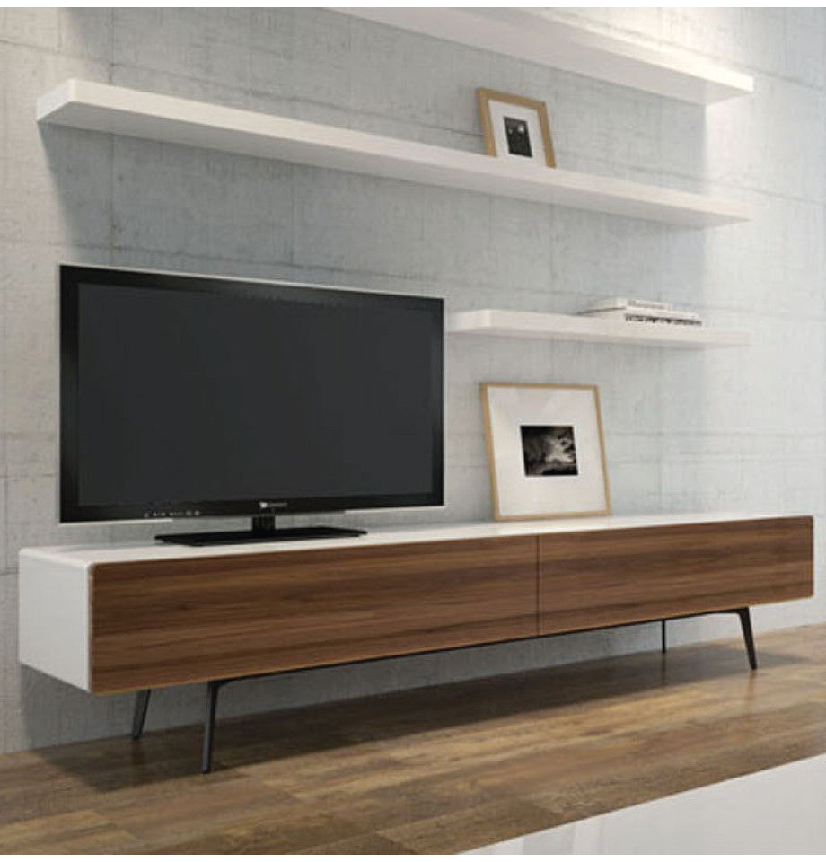 Manly Freestanding Entertainment Unit 1660 - Walnut/High Gloss White