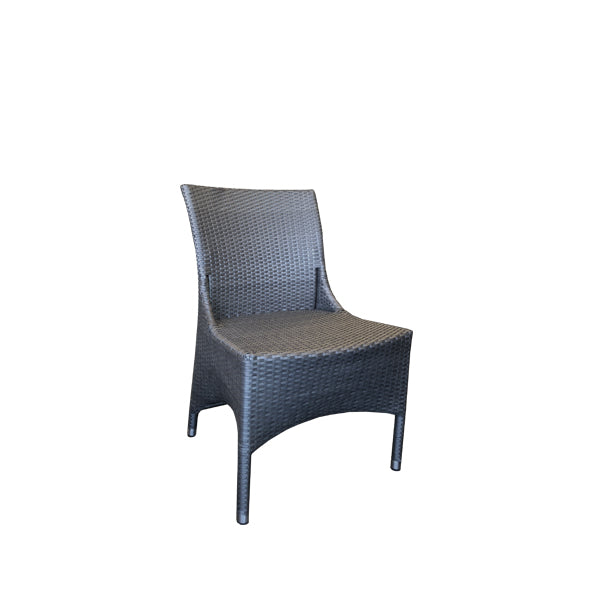 Kasper Outdoor Dining Chair - Platinum 7mm Flat Rehau German Wicker - P/Coated Alu Frame
