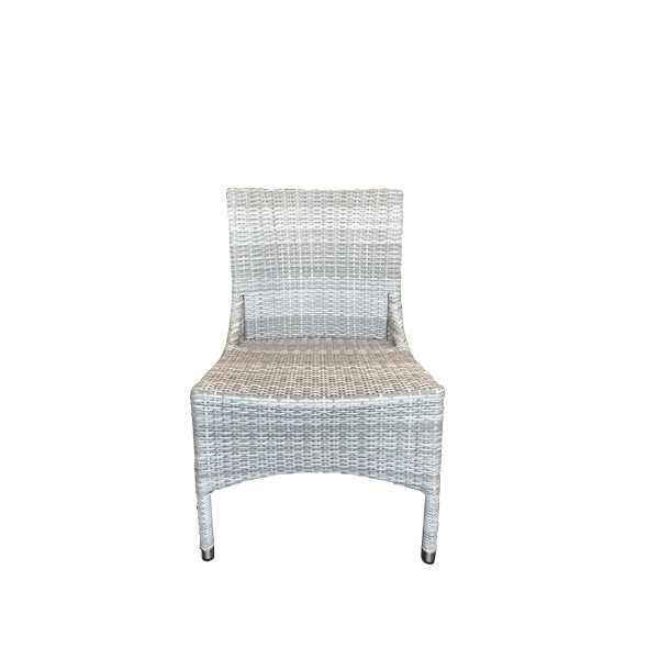 Kasper Outdoor Dining Chair - Mid Grey Rehau German Wicker - P/Coated Alu Frame