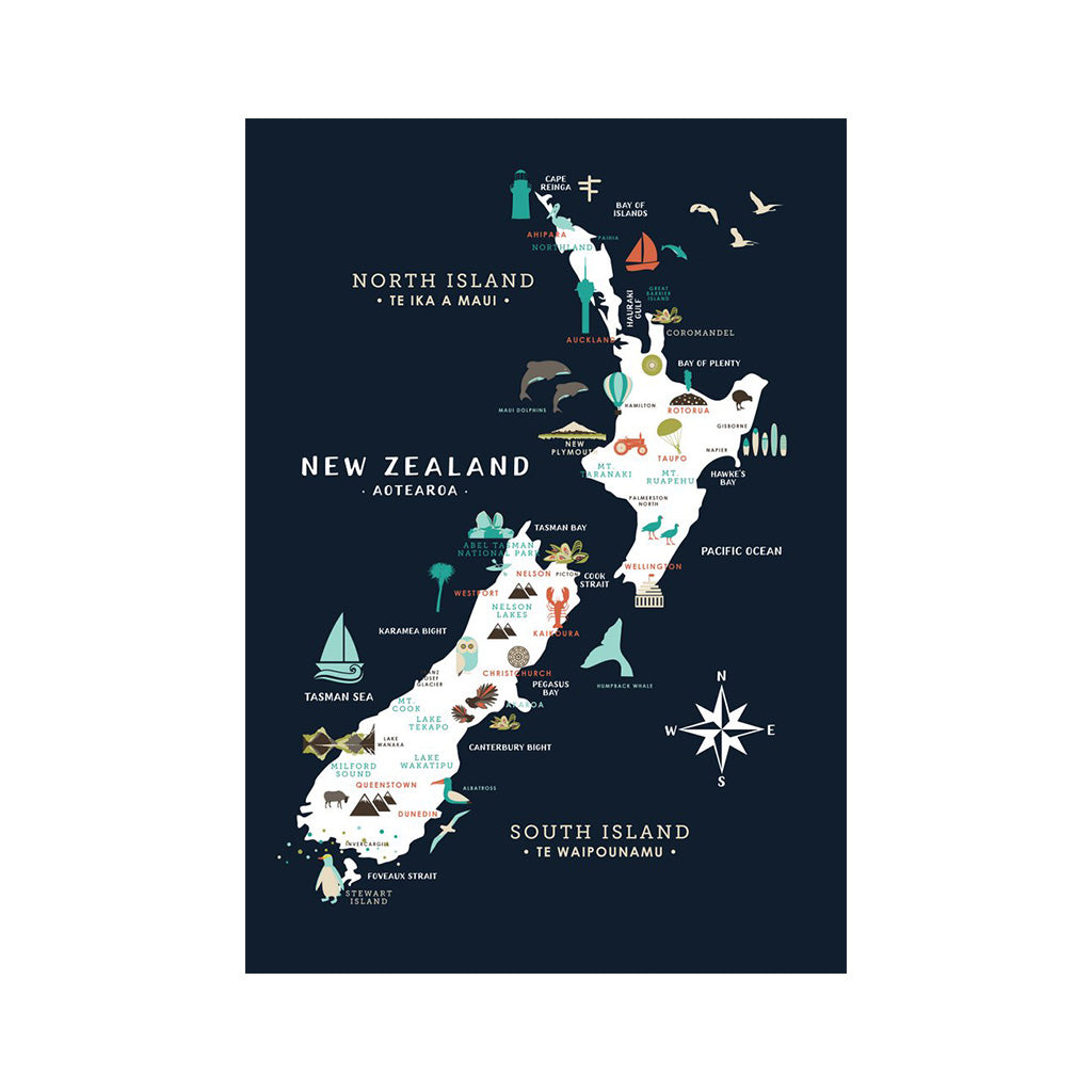 Kiwiana Poster New Zealand Wall Art map - Navy background
