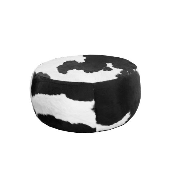 Loft Large Round Ottoman - Cat 25 Black & White Cowhide Leather - Urban Sofa - dia. 1200mm H. 500mm