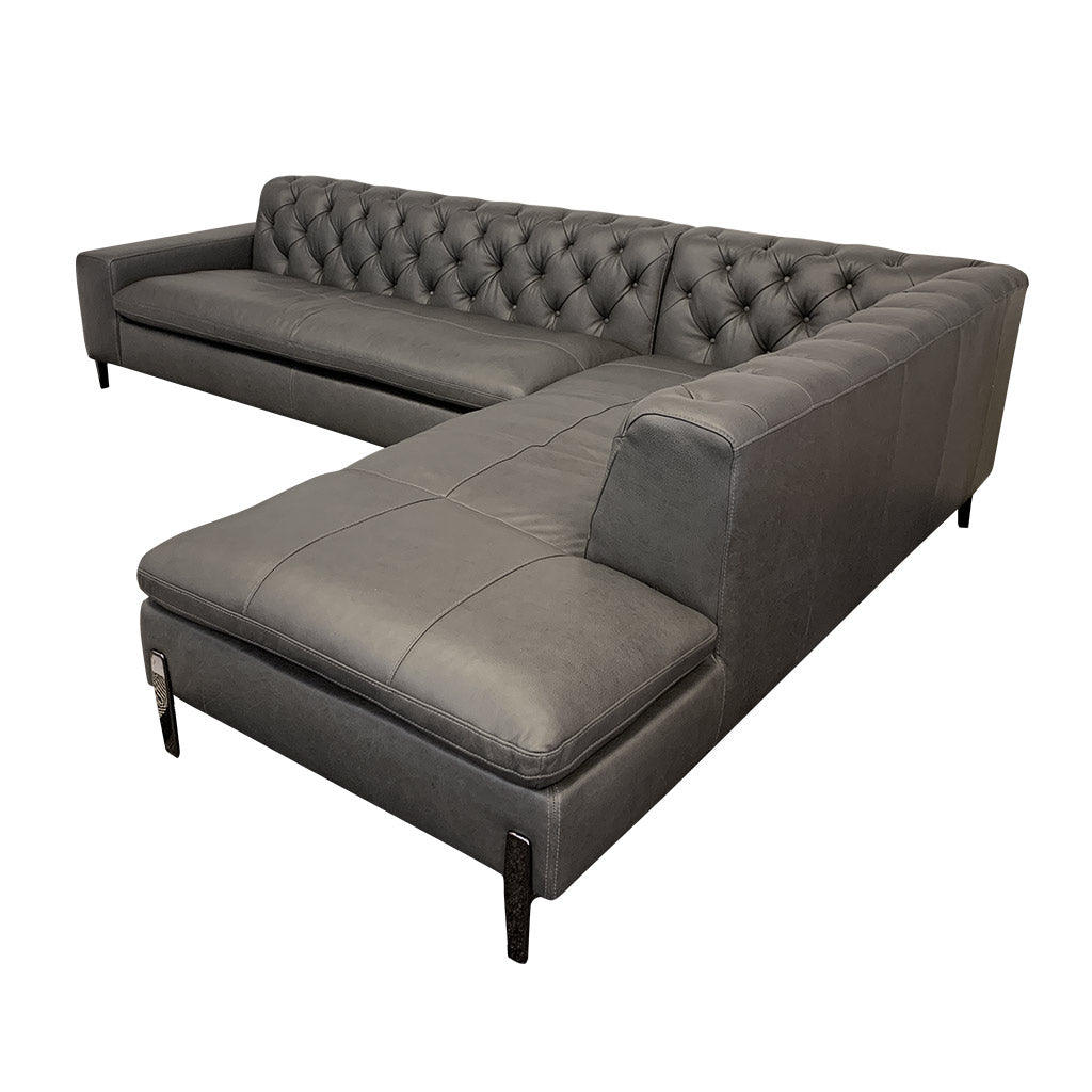 Mallory charcoal leather corner suite with chaise
