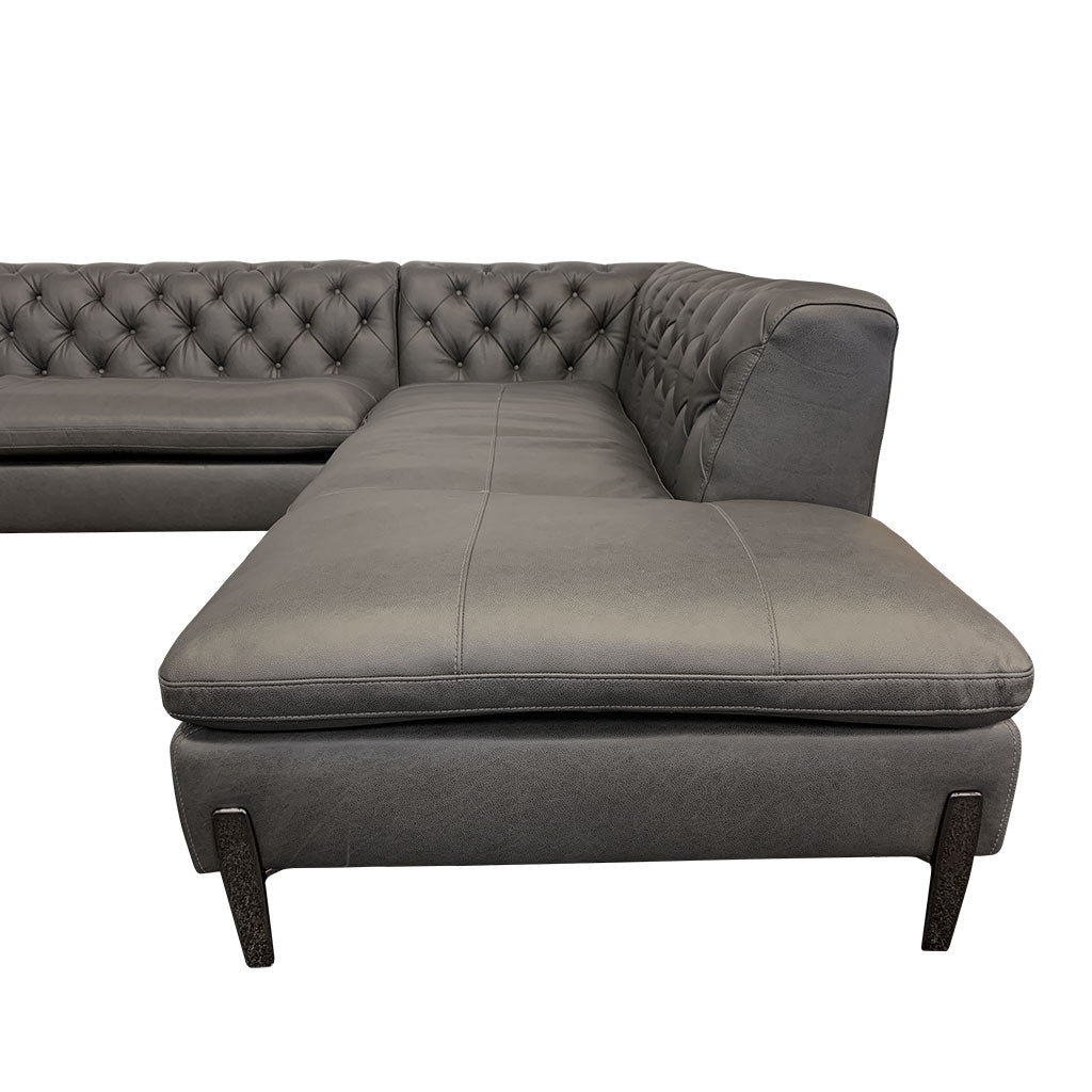 Mallory charcoal leather corner suite - chrome legs