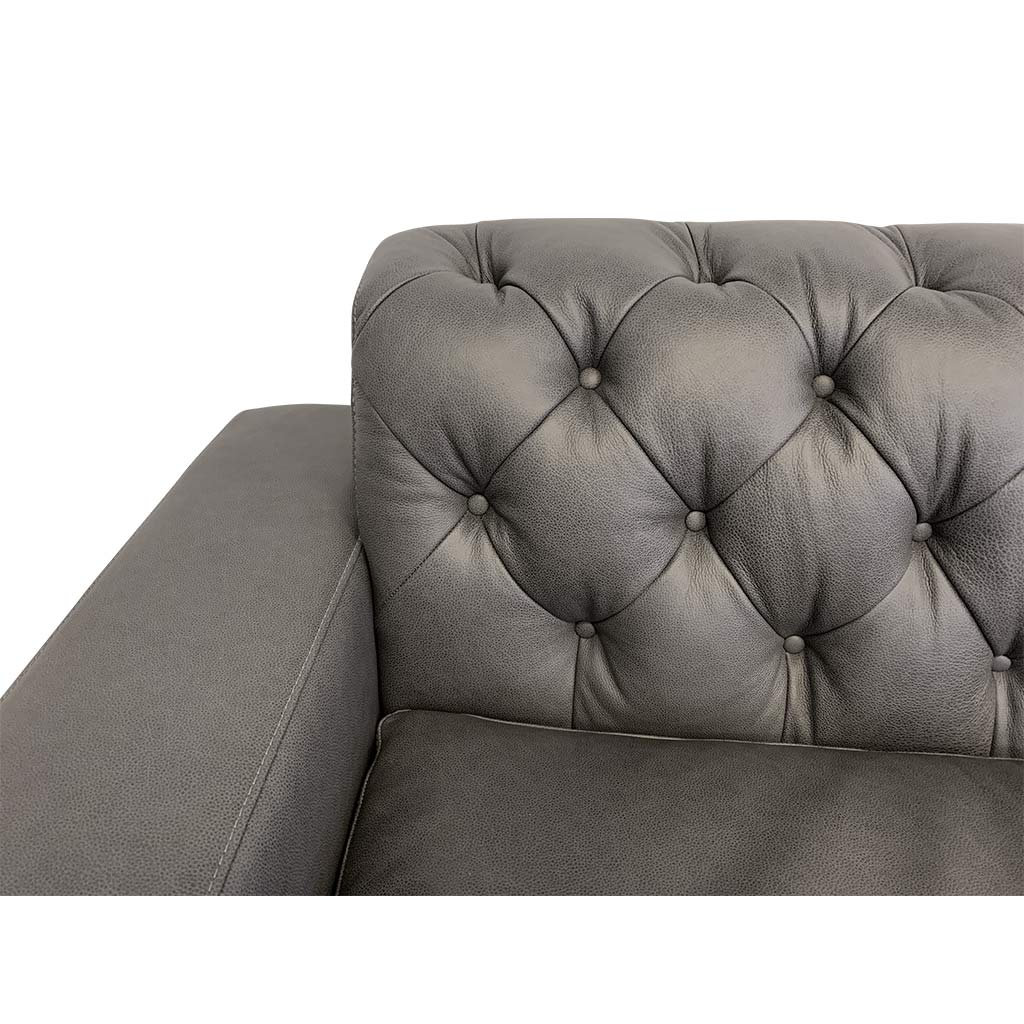 Mallory charcoal leather corner suite with diamond buttoning detail