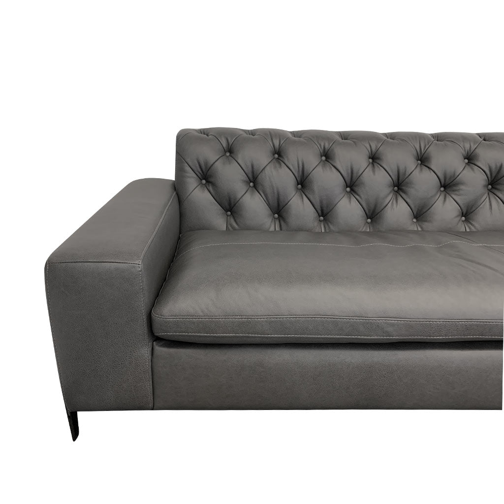 Mallory charcoal leather corner suite with wide arms