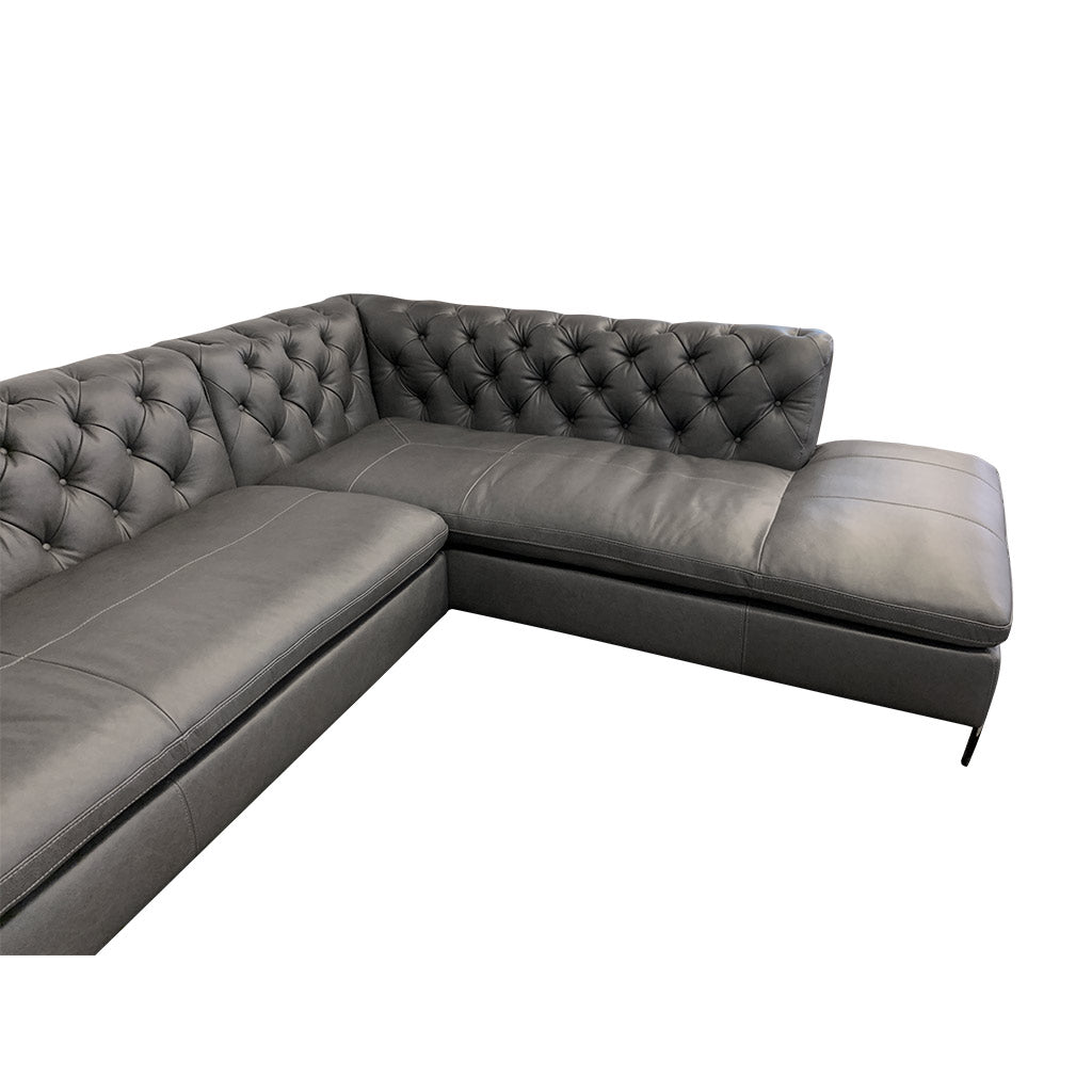 Mallory charcoal leather corner suite