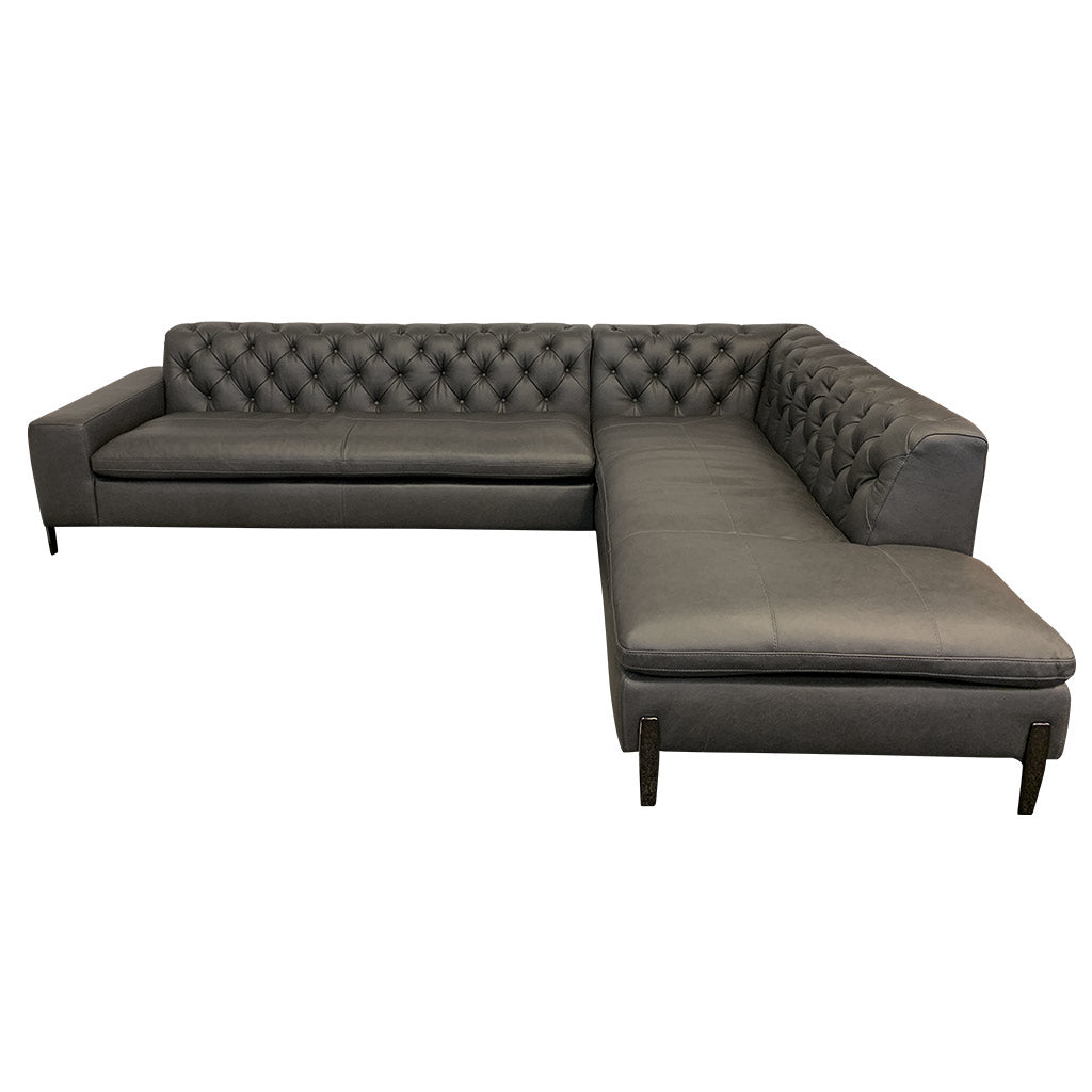 Mallory charcoal leather corner suite - front view