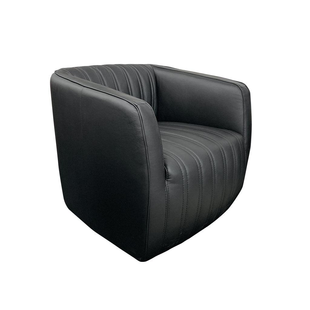 Marvy Leather Swivel Chair - Urban Sofa Atollo Black Leather