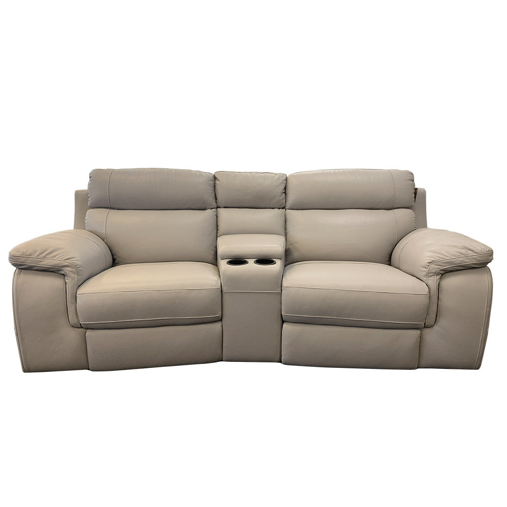 Marzotto 3pce taupe leather cinema suite with drinks holder