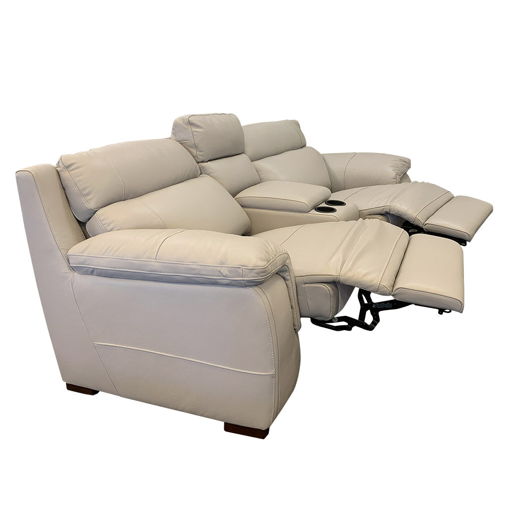 Marzotto 3pce taupe leather cinema suite with recliners