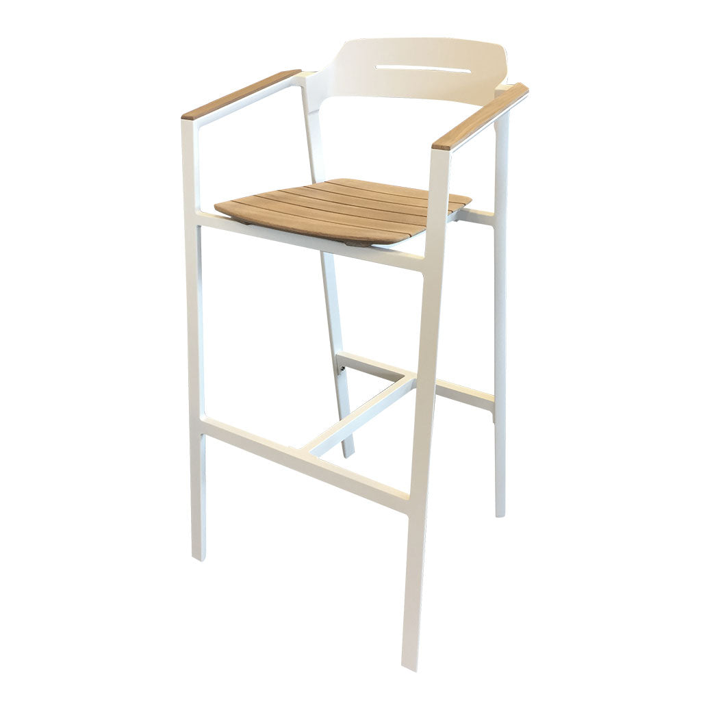 Maunganui white outdoor barstool - aluminium and timber