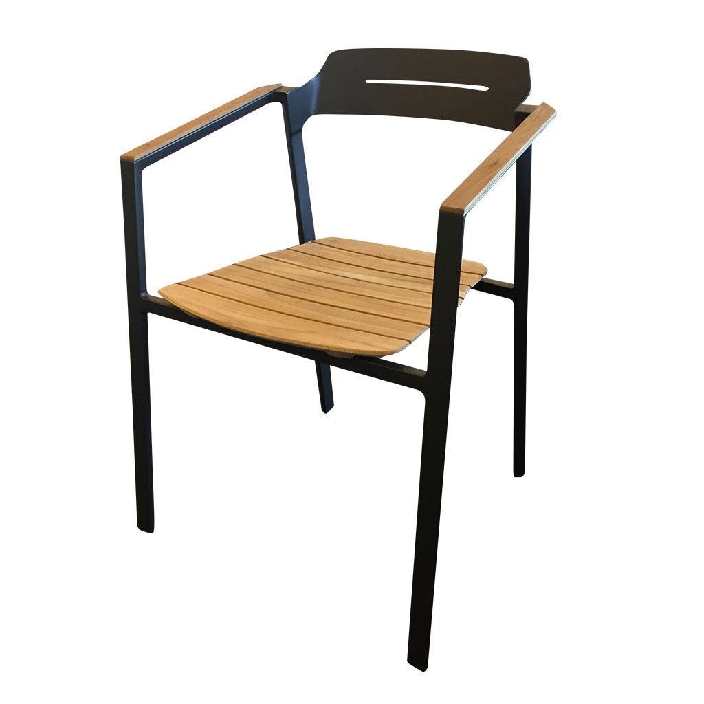 Maunganui outdoor dining chair - charcoal aluminium and teak seat