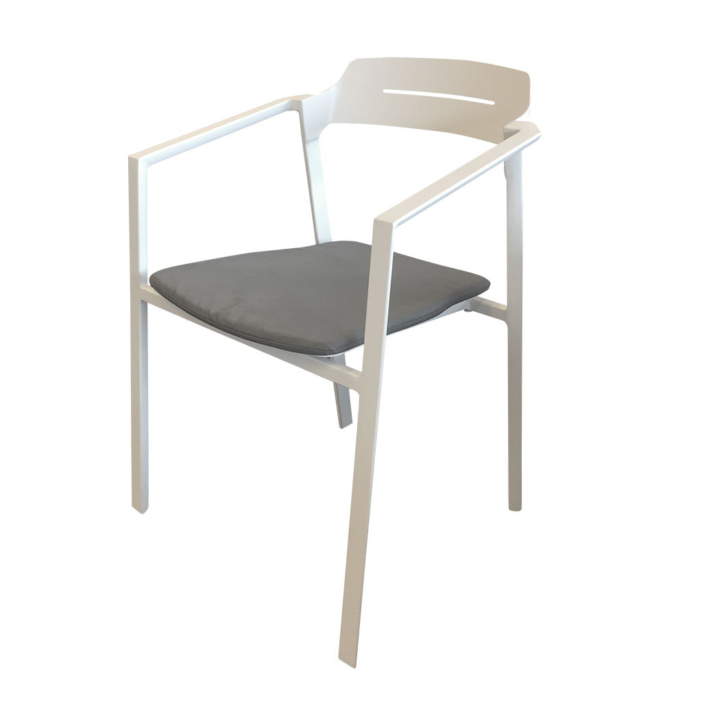 Maunganui outdoor dining chair - white with seat pad