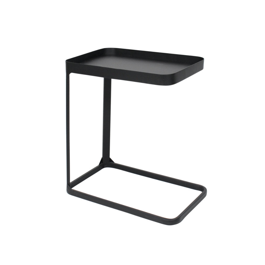Black metal side table for sofa