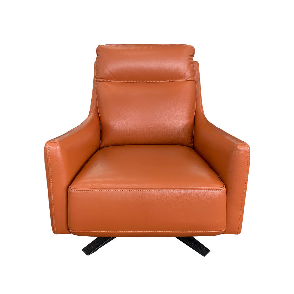 Mikado Swivel Chair with Black Base in Burnt Orange Leather