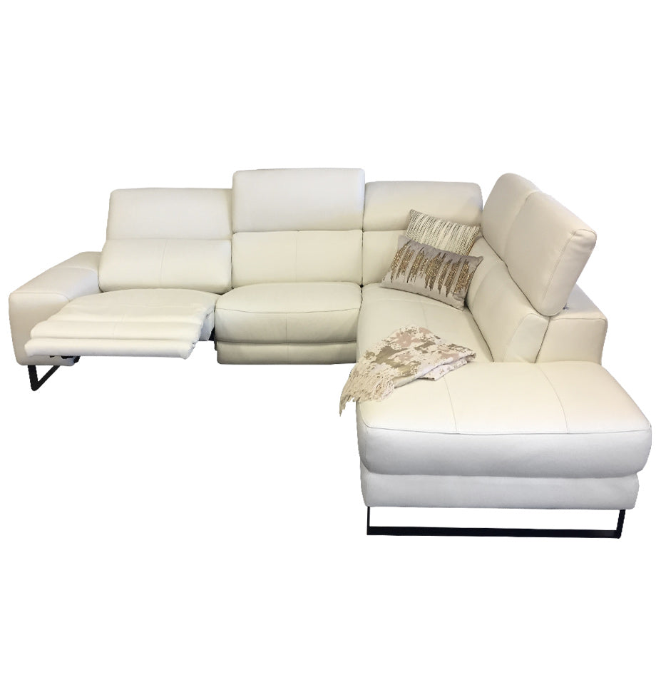 Mikado Sofa Chaise - 3ReL + ChseR - Cat 15 White Leather
