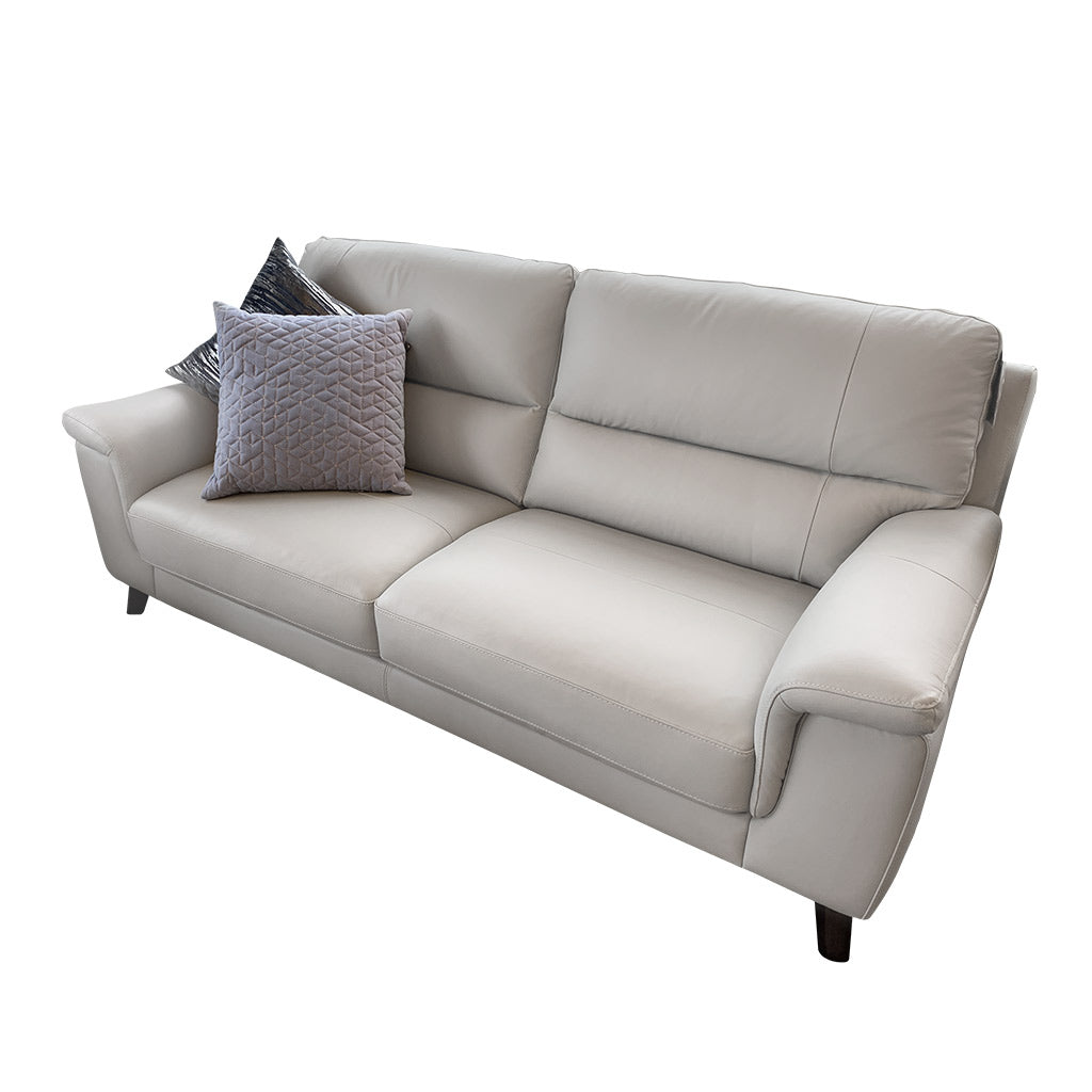 Morley 3 seater in light grey leather