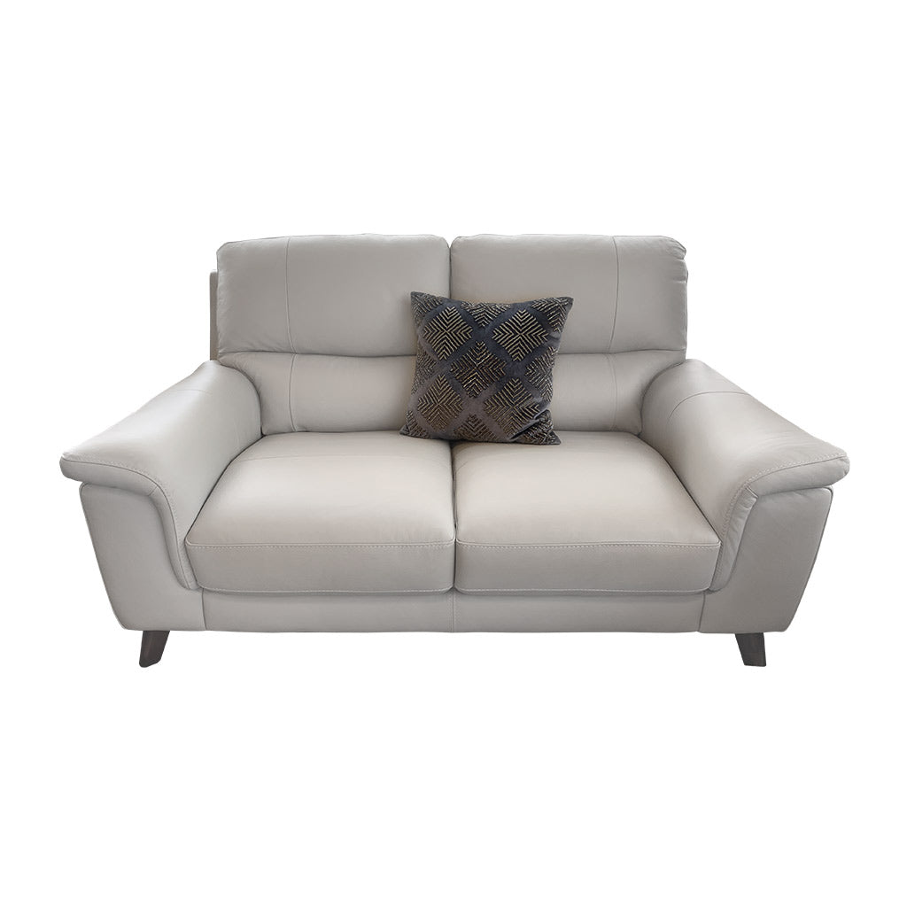 Morley 2 seater in light grey leather