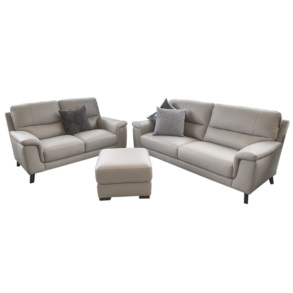 Morley grey leather ottoman with Morley 3+2 Suite