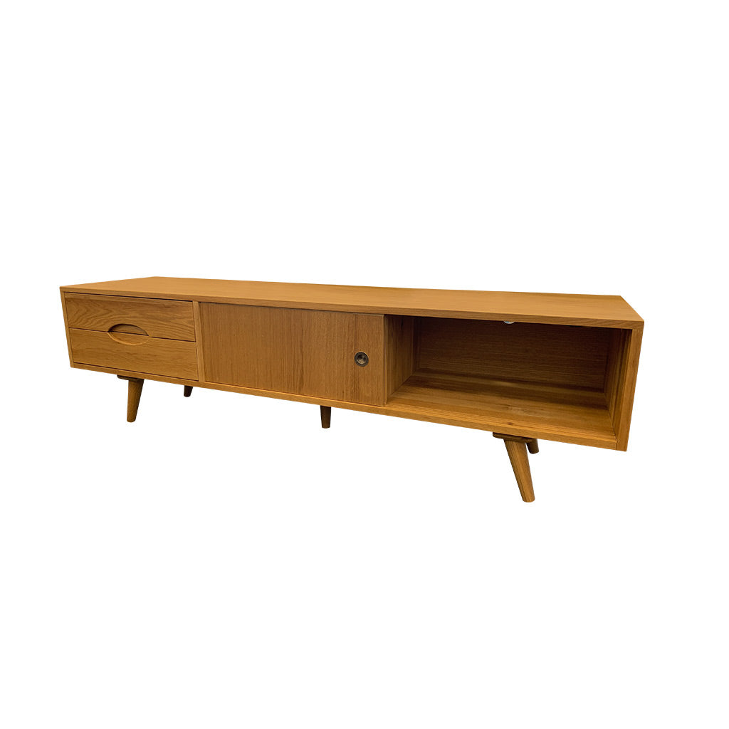 Nando TV entertainment unit, angled legs, Scandinavian design