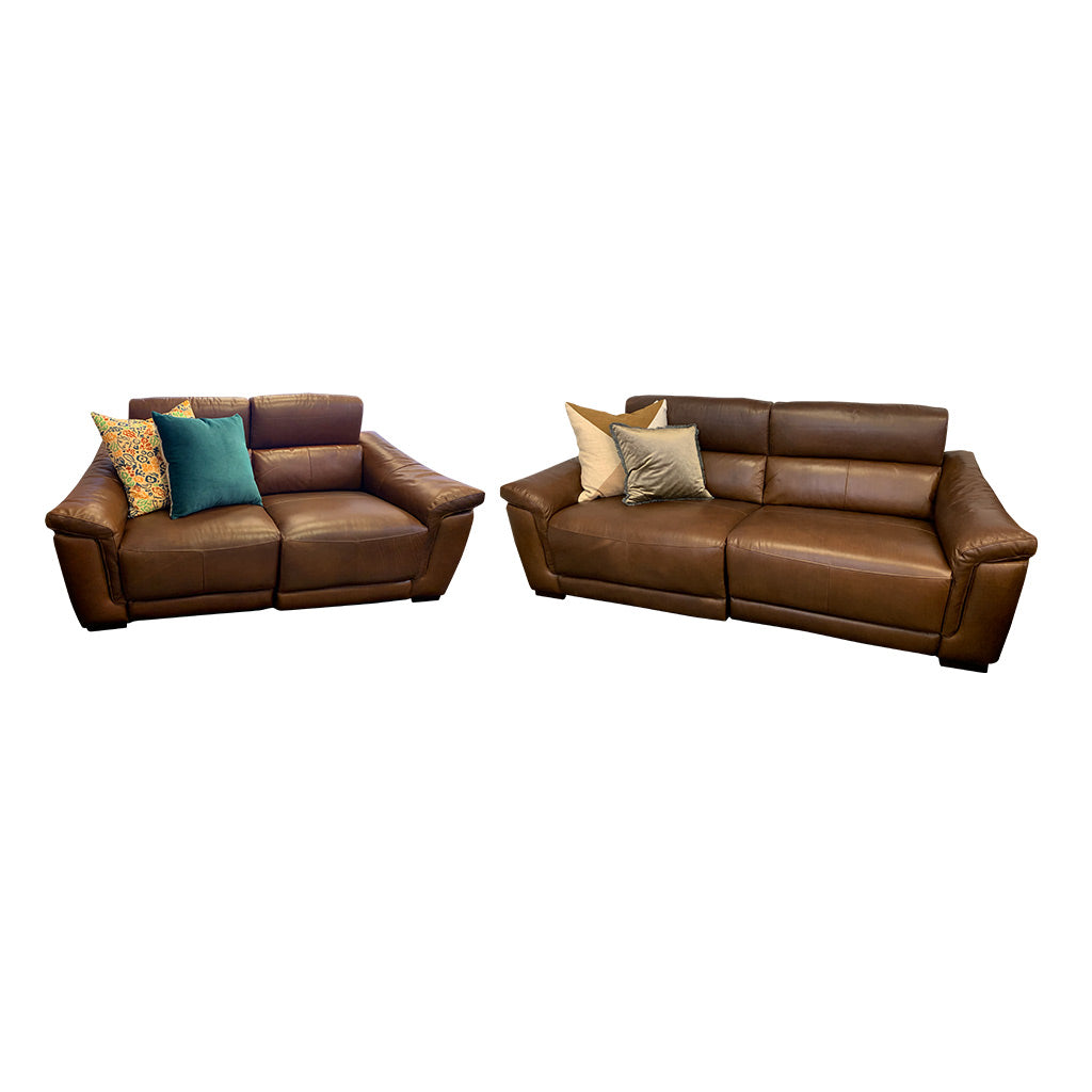 Nevada brown leather electric suite