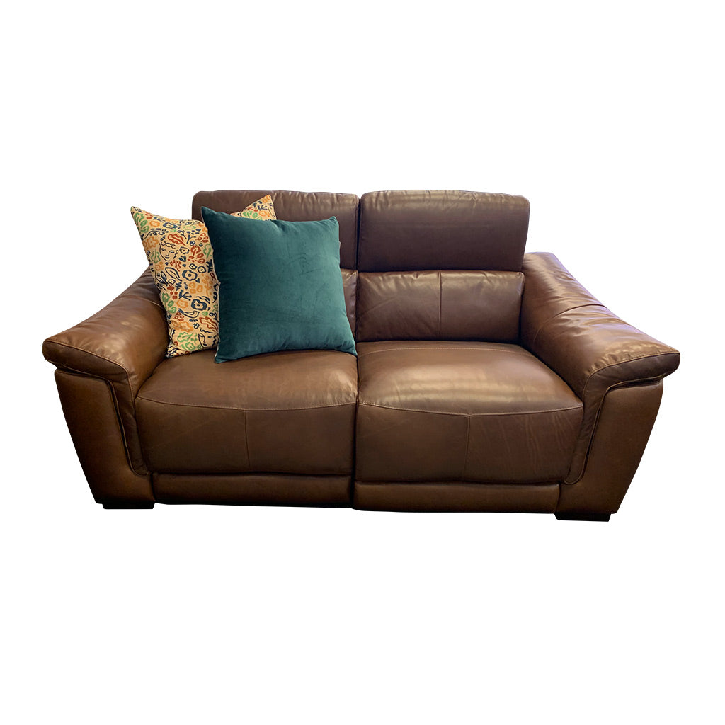 Nevada brown leather electric suite - 2 seater