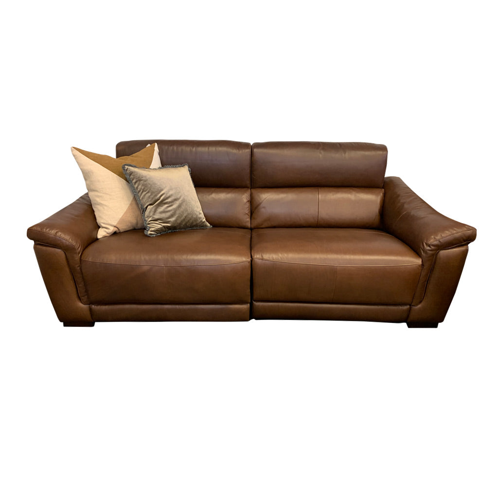 Nevada brown leather electric suite - 3 seater