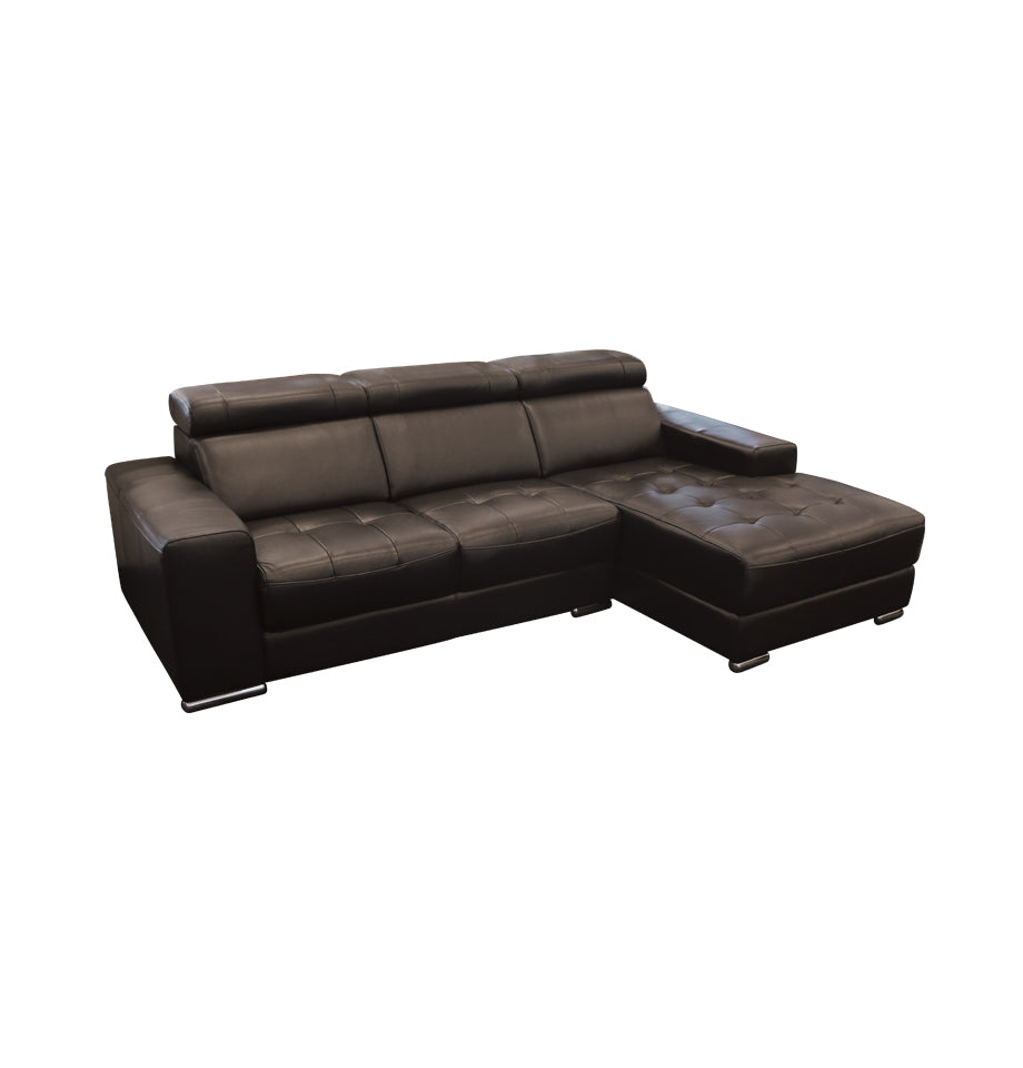 Niro 2 Seater Left + Chaise Right - Black All Top Grain TSA Leather