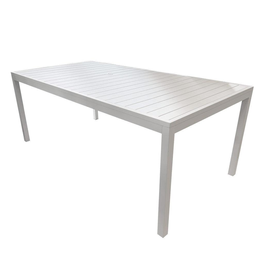 Oasis white powder coated aluminium table