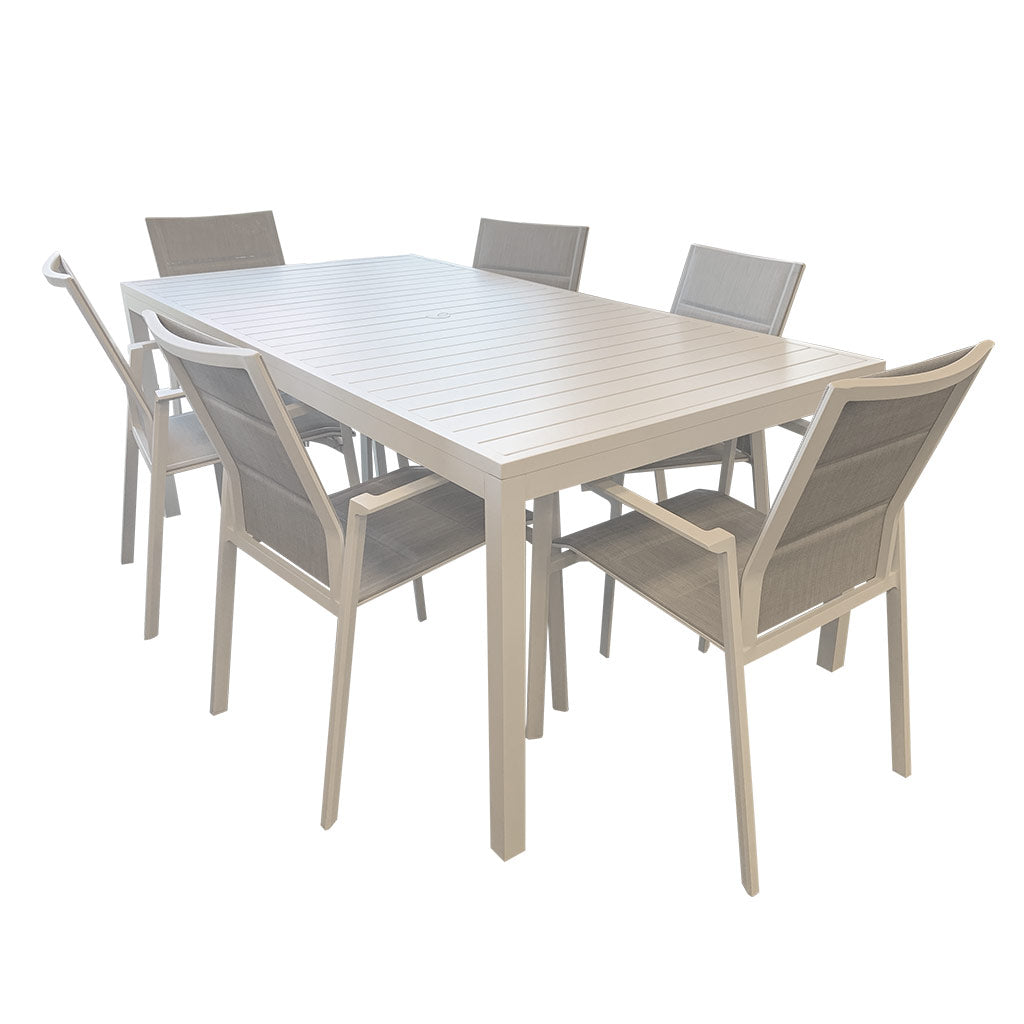 Oasis white aluminium table - seats 6