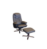 Oslo Recliner Chair + Footstool - Black Leather/Wenge