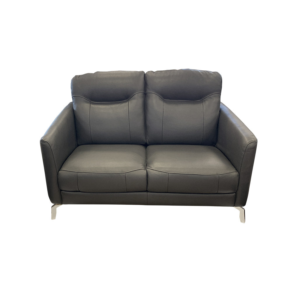 Pacific 2 seater retro sofa in grey leather