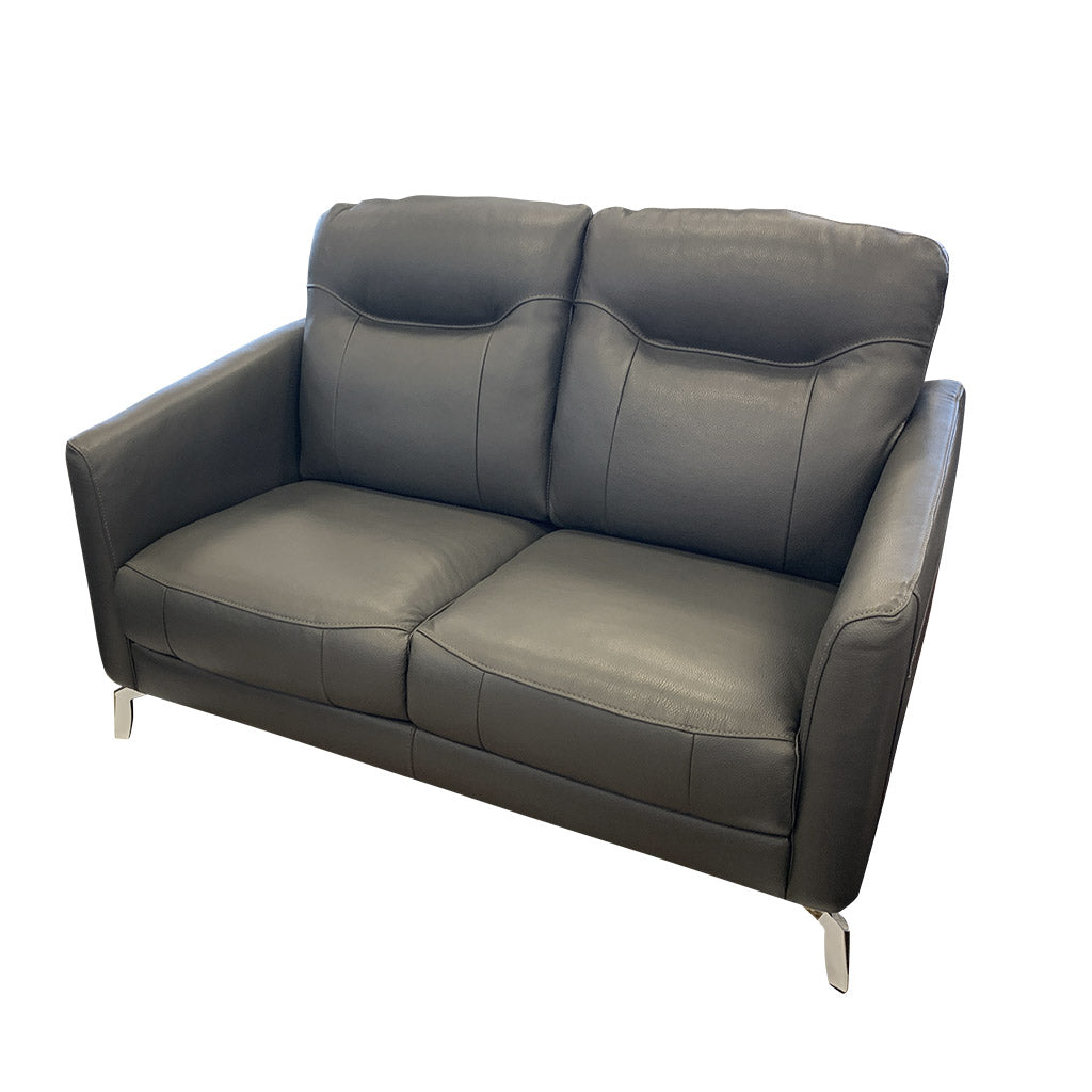 Pacific 2 seater grey leather sofa