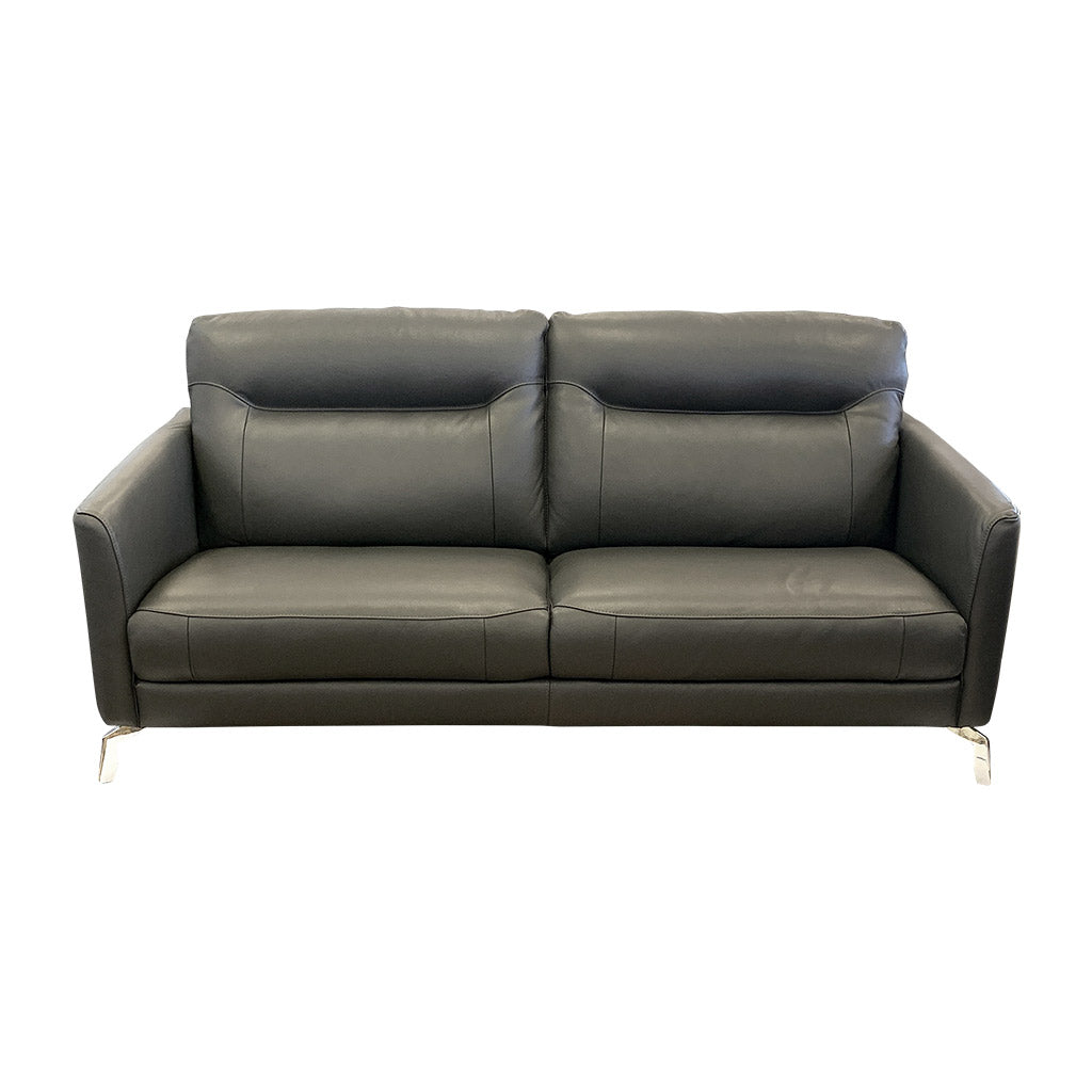 Retro Pacific grey leather sofa - 3 seater